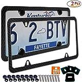 2x License Plate Frames Carbon Fiber Metal & Screw Kits Fine Slim Frame Standard Size For US Car