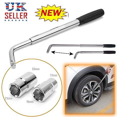 Juego de llaves de emergencia de viaje, llave de tuercas de llanta (17/19 mm) y (21/23 mm) para rueda de coche extensible ...