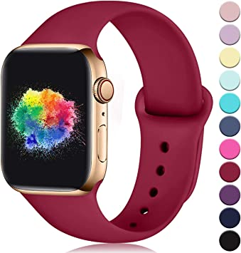Imagen deYoumaofa Correa Compatible con Apple Watch 38mm 40mm, Correa de Silicona Repuesto Pulsera Deportivas para iWatch Series 5 Series 4 Series 3 Series 2 Series 1, 38mm/40mm S/M Rojo