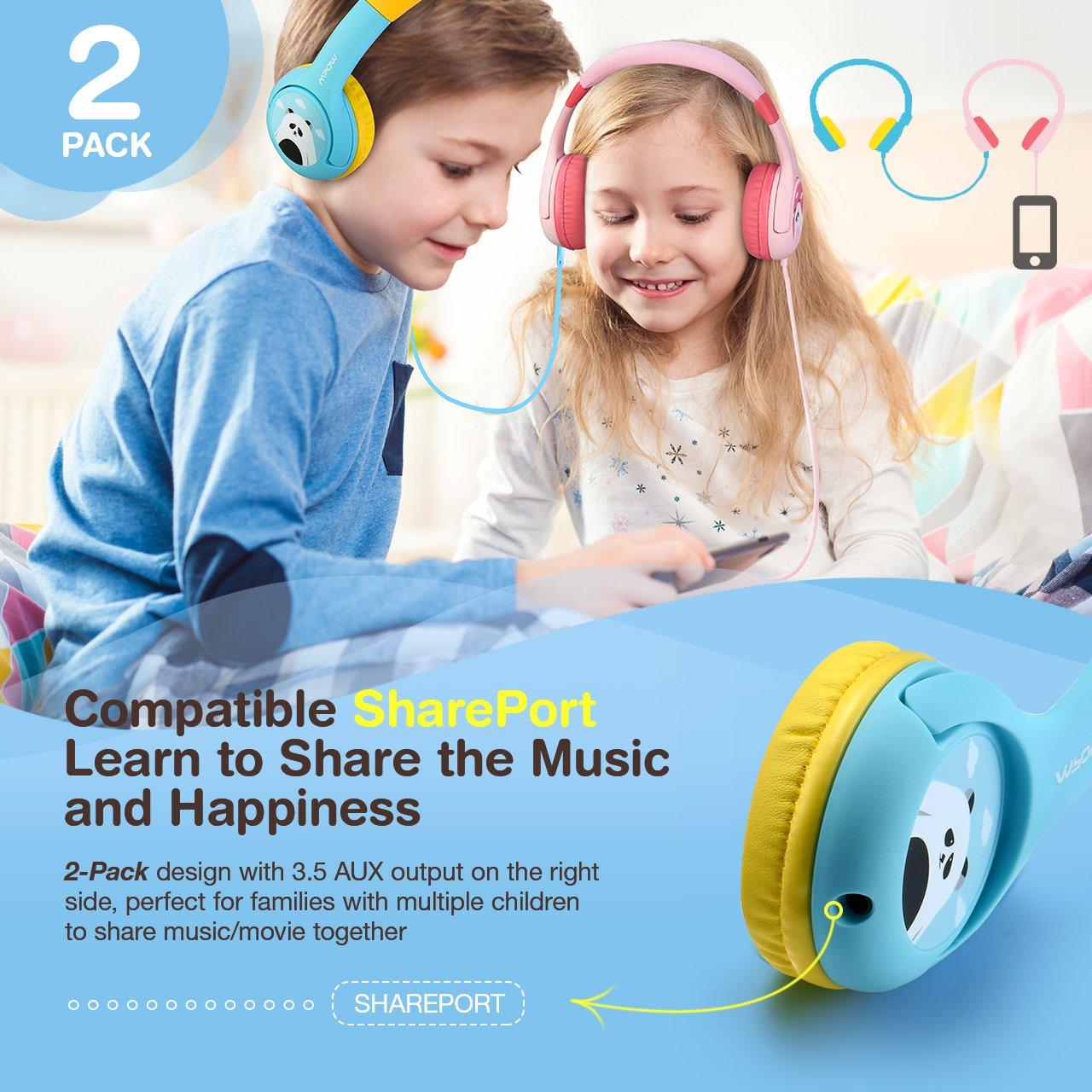 Amazon.com: Mpow (2-Pack) Kids Headphones, Wired On-Ear Headphones ...