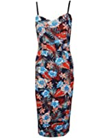 New Womens Plus Size Summer Tropical Strappy Floral Midi Dress 8-14