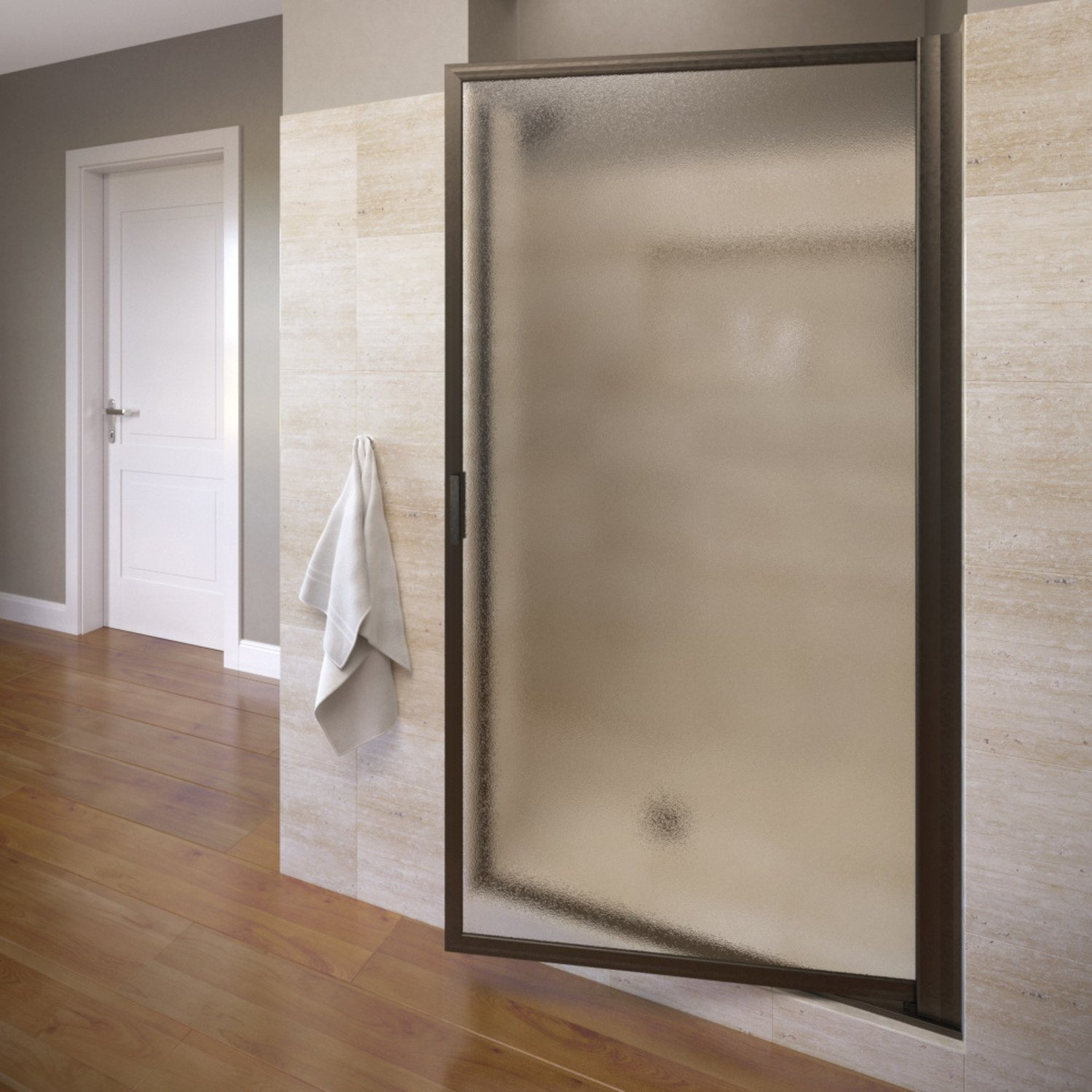 Basco Deluxe 32.75- 34.5 in. Width, Glass Shower Door, Obscure Glass, Oil Rubbed Bronze Finish