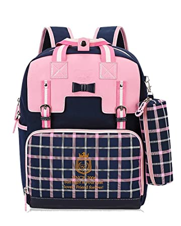 a81f32501b324 Rieovo Schulranzen Mädchen 1 Klasse Schulrucksack Schultasche für  Grundschule Rosa