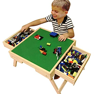 DAPU Large Wooden Play Table for Big Blocks with Storage,Portable Folding Activity Table with 2 Sliding Drawers,Kids & Children: Kitchen & Dining [5Bkhe0804391]