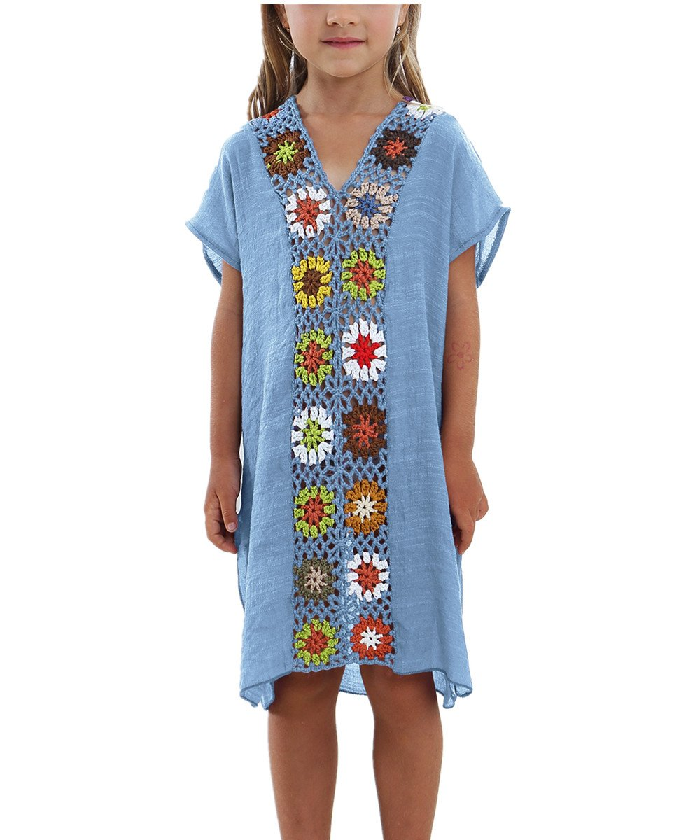 KIDVOVOU Kids Girls Swimsuit Beach Cover-up Crochet V-Neck Swim Dress