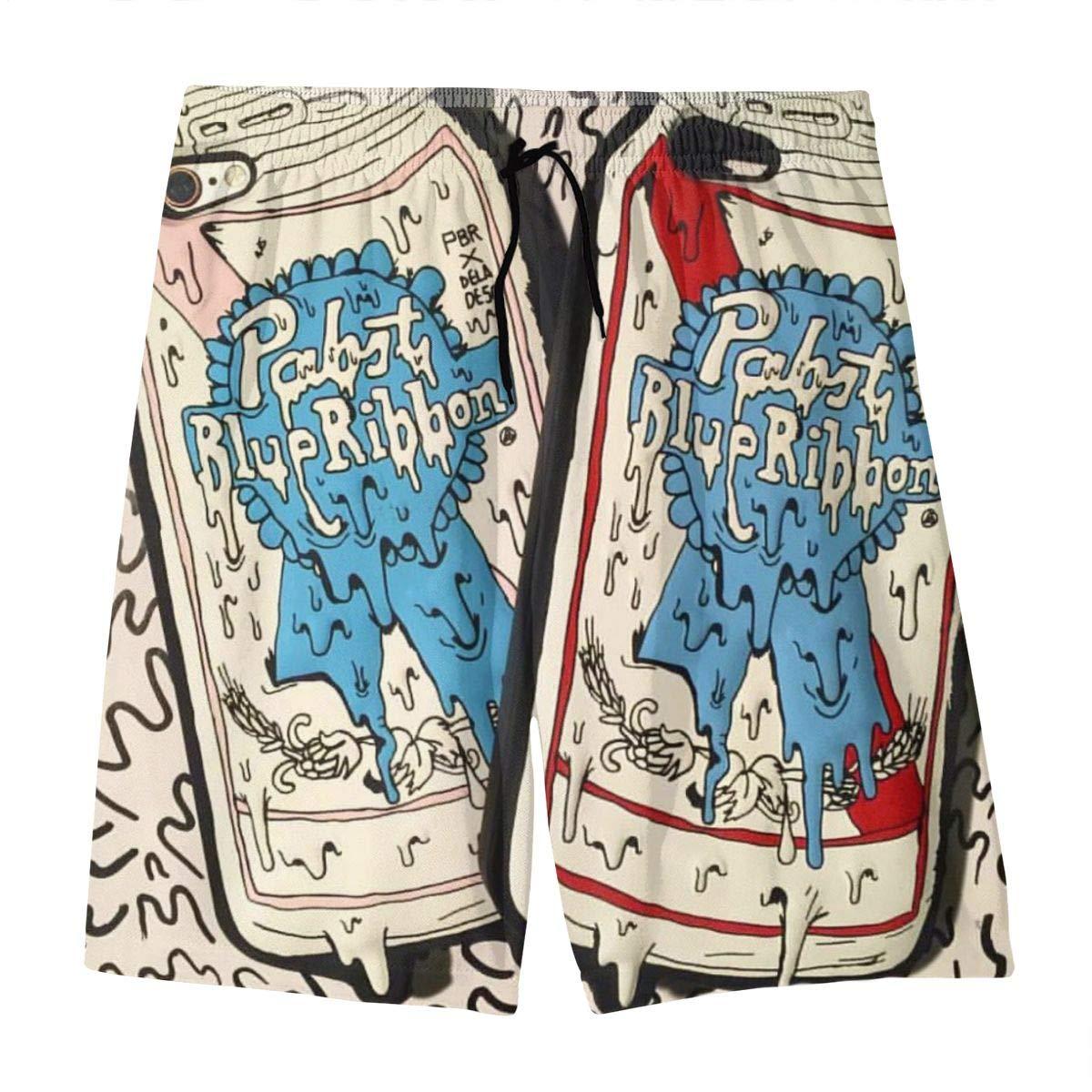 Pa-BST Blue Ribbon Teens Beach Board Shorts Quick Dry Bathing Suits Swim Trunks Shorts