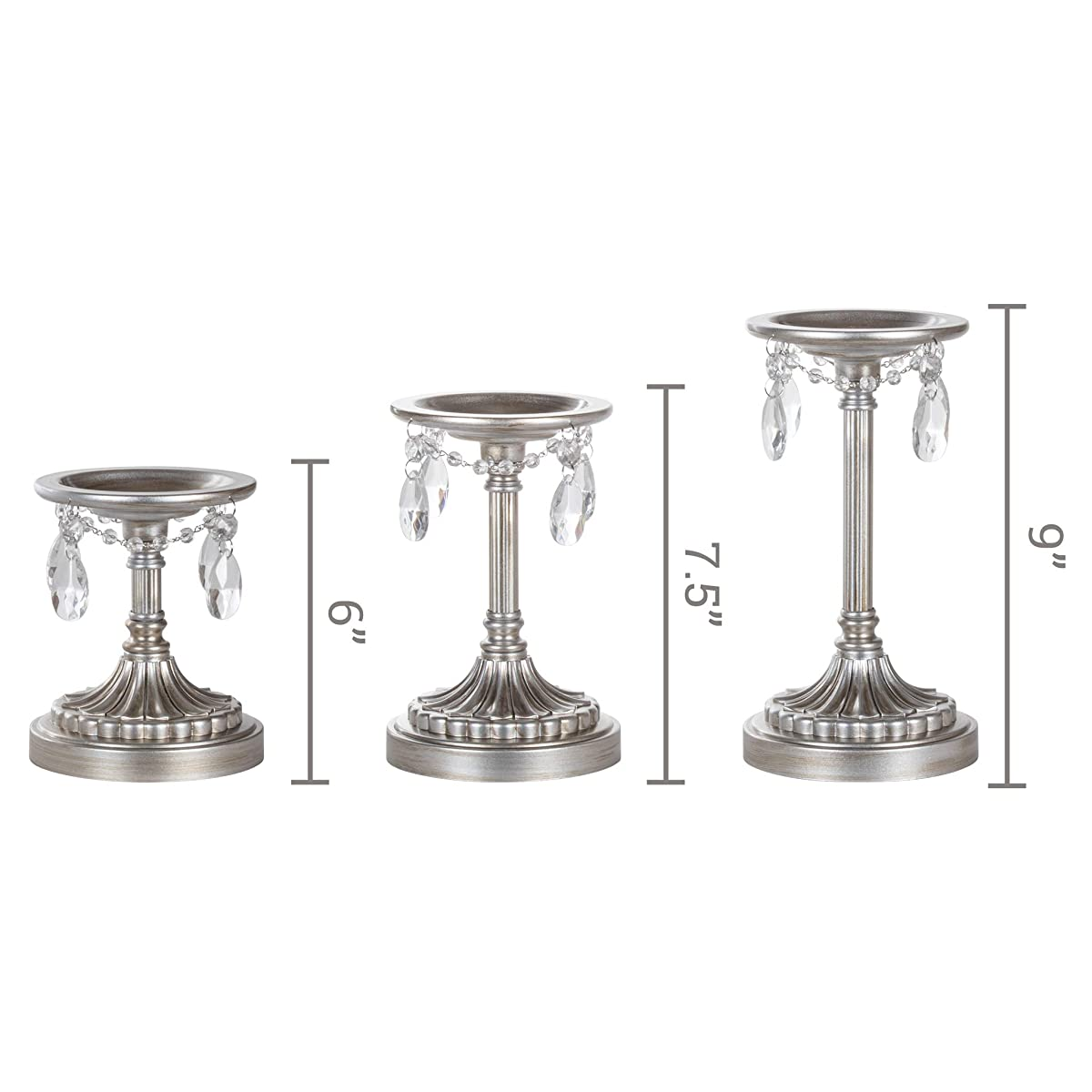Amalfi Décor Victoria 3-Piece Antique Silver Pillar Candle Holder Set, Crystal-Draped Metal Candlestick Accent Stand