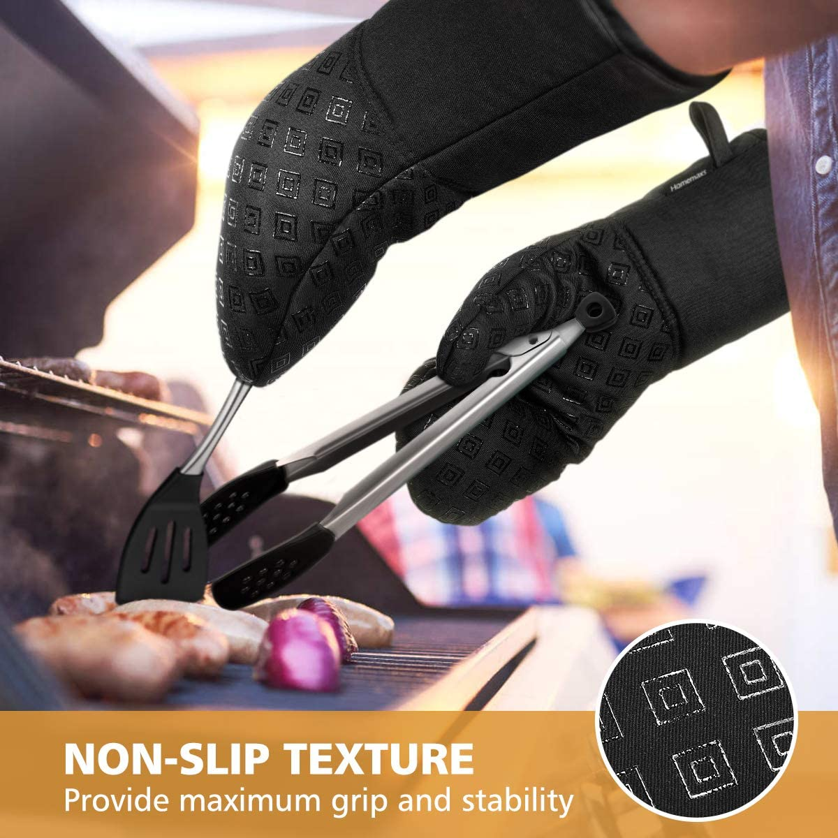 Heat Resistant Oven Mitts and Pot Holders 4pcs Set, Non-Slip Food Grade Kitchen Mitten Silicone Cooking Gloves (Black)