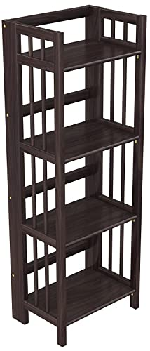 Stony-Edge Folding Bookcase, Easy Assembly Bookshelf for Home Office Storage. 16 Espresso