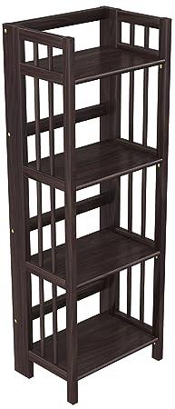 Stony-Edge Folding Bookcase, Easy Assembly Bookshelf for Home Office Storage. 16 Espresso