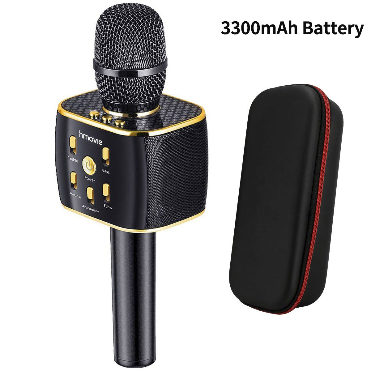 3300mAh Wireless Karaoke Microphone 12w Hi-Fi Bluetooth Speaker Player for iPhone Android Smartphone hmovie K3B33