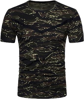Hombres Estilo Militar Camiseta De Manga Corta con Estampado De Rayas