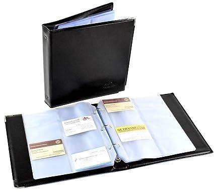 Ringbuch Für Visitenkarten Ordner 480 Karten Schwarz Platzsparend 3 Loch Halterung Mit Hüllen