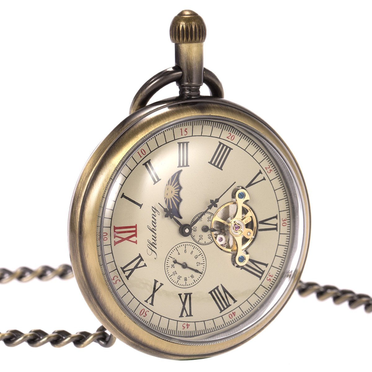 Skeleton Pocket Watch - Horizontal Open Face Phases Moon Sun 24-Hour Coper Chain by ManChDa (Image #3)