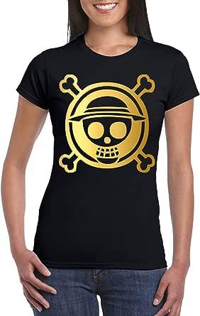Black Female Gildan Short Sleeve T-Shirt - One Piece skull logo - Gold design