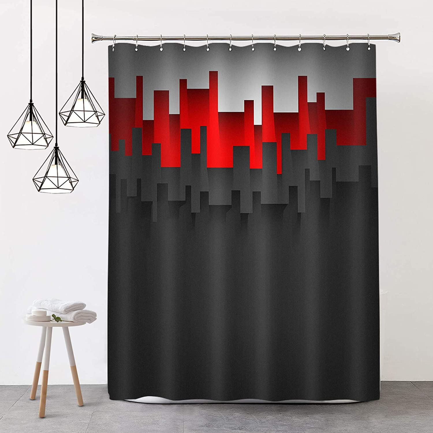 black grey rust red shower curtain 3d abstraction geometry pattern fashion cool sexy modern apartment bathroom decor set with hooks 72 x 72 inch
