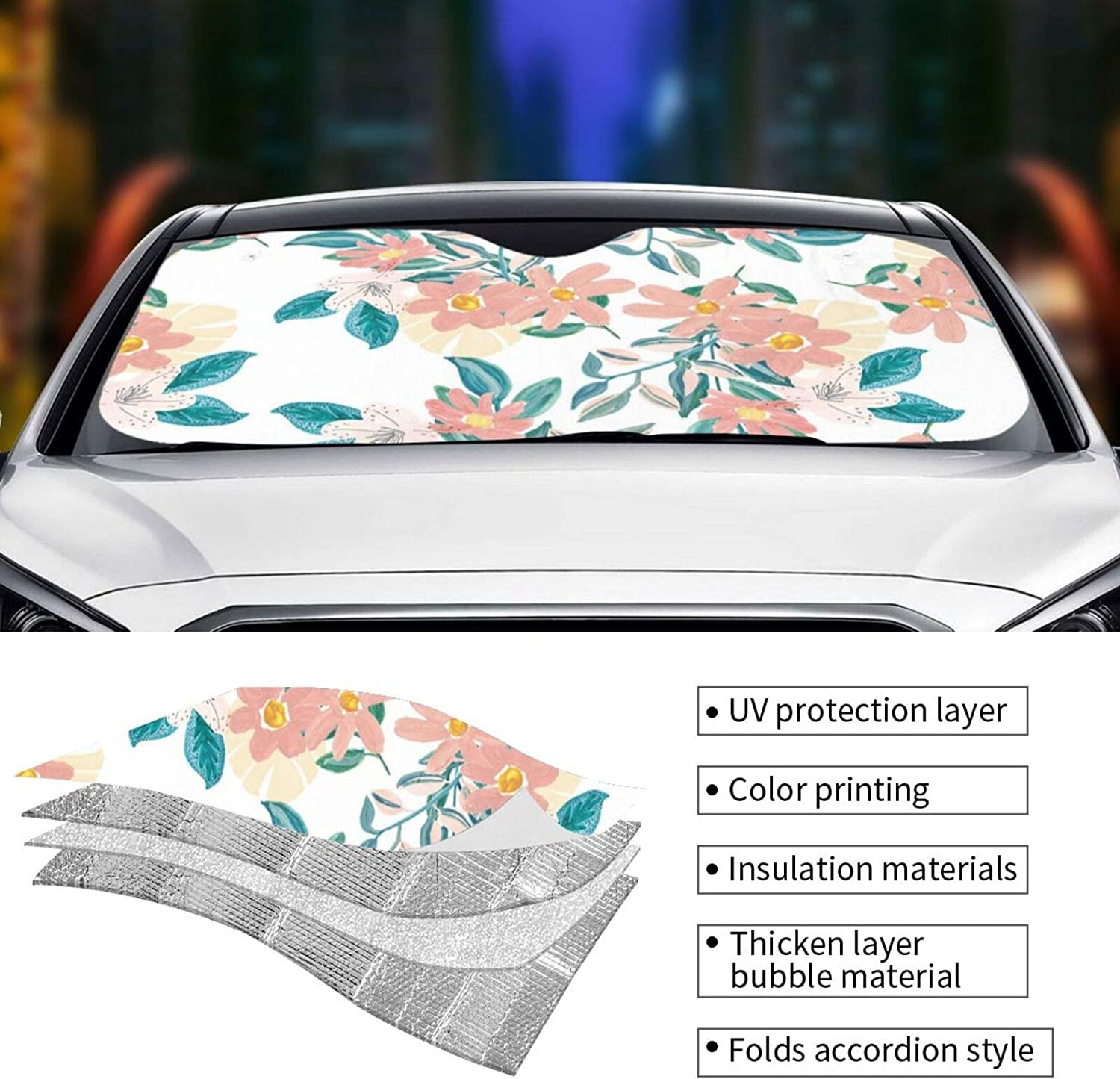 Lbuxinqu 6 Windshield Sun Visor, Used for Car SUV Truck (13070cm and 14076cm) Front Window Sunshade Sunshade: Sports & Outdoors