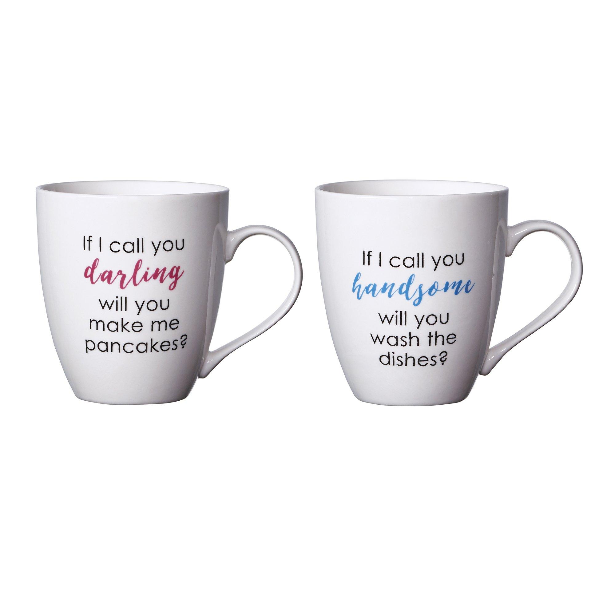 Pfaltzgraff Everyday Mug, Handsome and Darling, 18-Ounce, Set Of 2