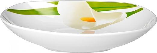 d/écoration v/ég/étale Van Well Van Well Calla Service de table 30 pi/èces pour 6 personnes avec service /à caf/é Motif fleurs blanches vaisselle /él/égante en porcelaine