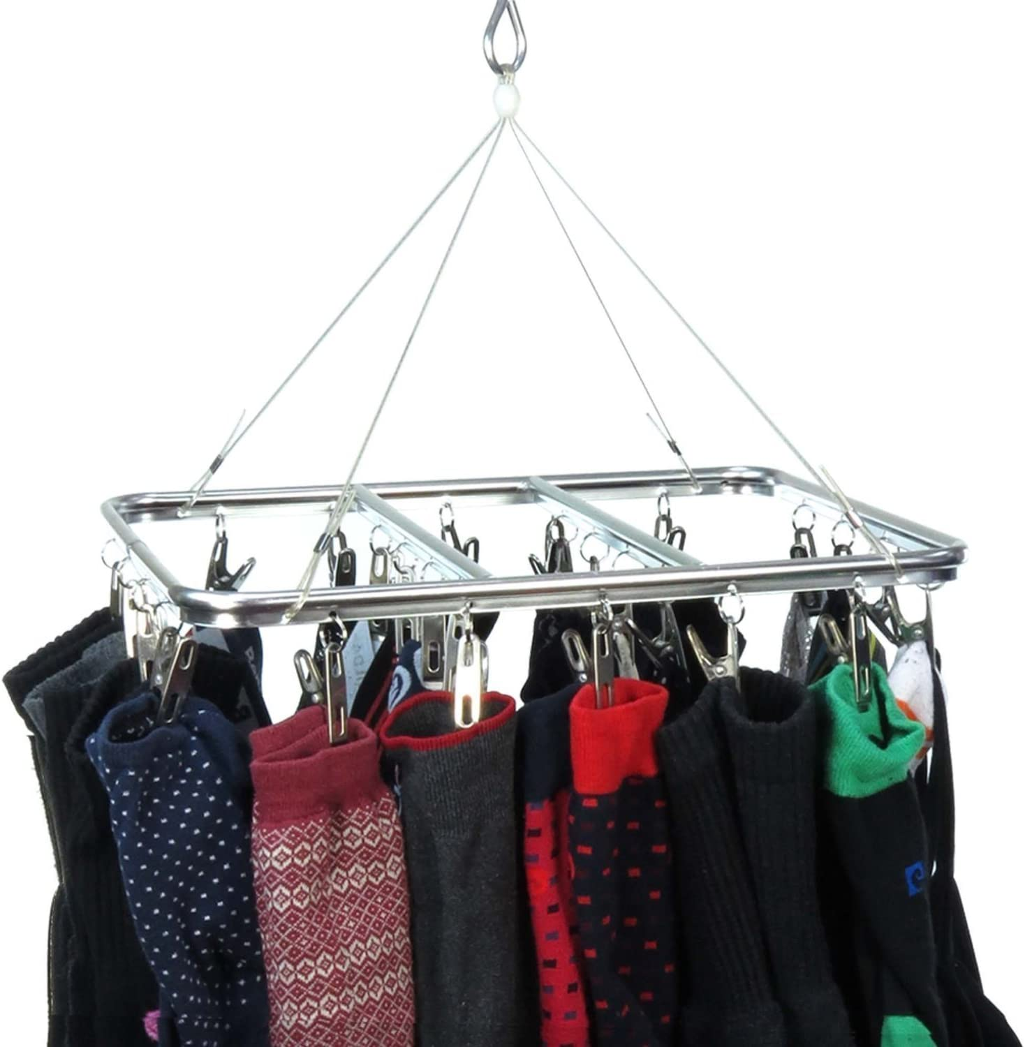 HANGERWORLD 26 Peg Aluminium Hanging Laundry Socks Lingerie Clothes Portable Indoor Outdoor Airer Dryer.