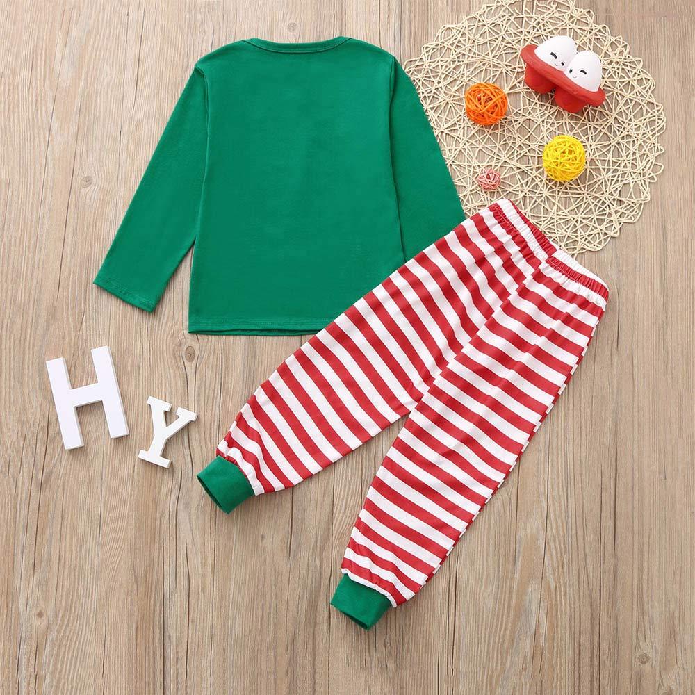 2PCS Kids Christmas Pajamas Sleepwear Set Long Sleeve T-Shirt Tops+Striped Pants Outfit Children Clothes