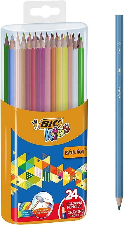 BIC Kids Evolution - Caja de lápices de colores con sacapuntas (24 unidades): Amazon.es: Oficina y papelería