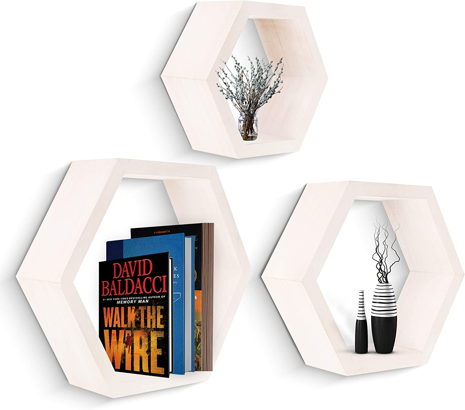 Onyx Home Hexagon Floating Shelves - Set of 3, Rustic Wall Decor, Solid Hardwood Construction, Honeycomb Layout, True Floating Wall Mounted Hexagonal Shelf & No Visible Screw, All Accessories Included