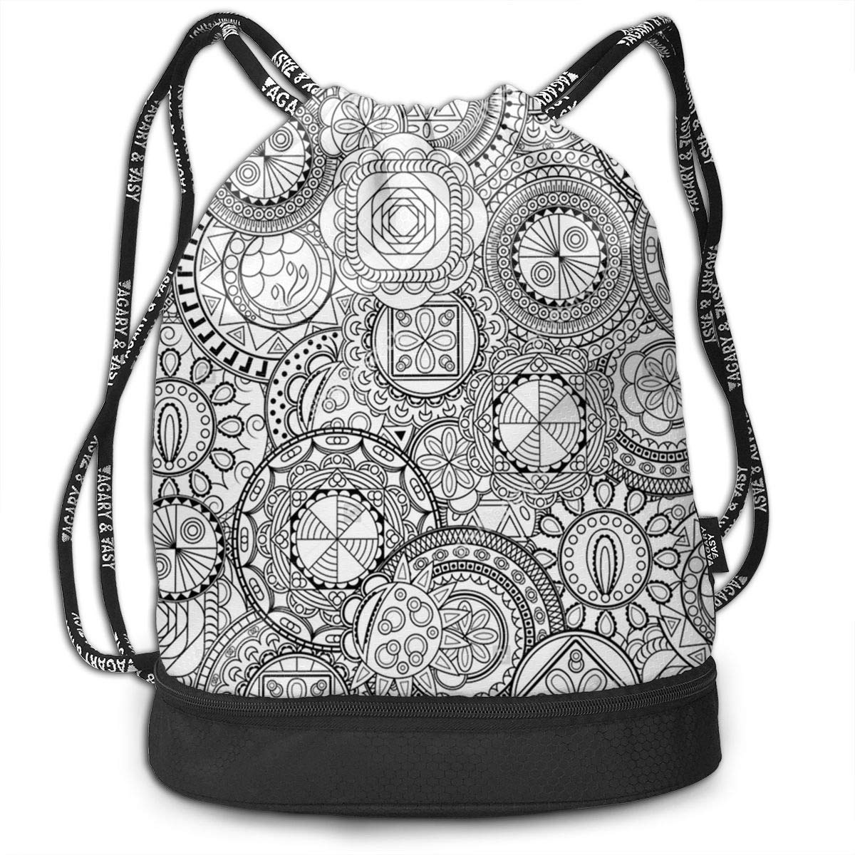 HUOPR5Q Mandala-Design Drawstring Backpack Sport Gym Sack Shoulder Bulk Bag Dance Bag for School Travel