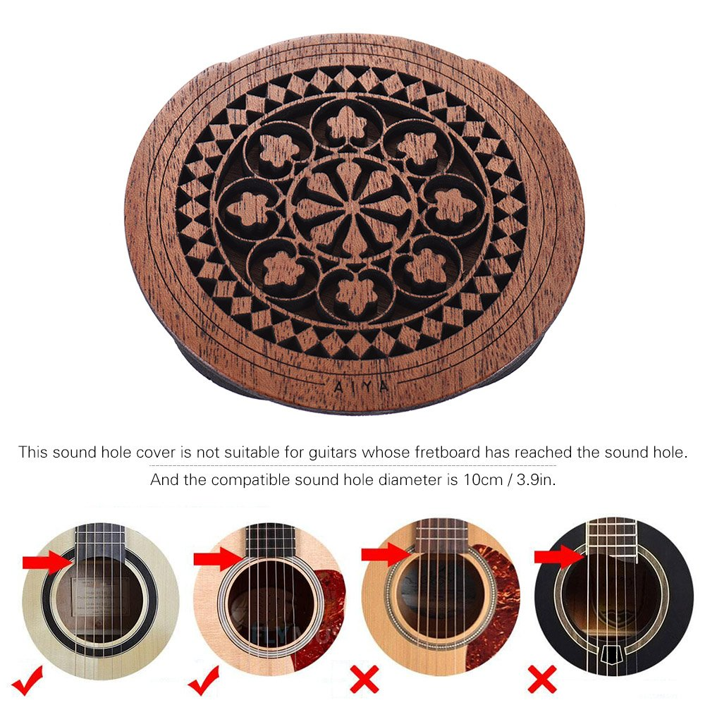 ammoon Guitarra Agujero de Madera Cubierta del Agujero de Sonido Buffer de Realimentaci/ón de Bloques Madera de Caoba para EQ Acoustic Folk Guitars