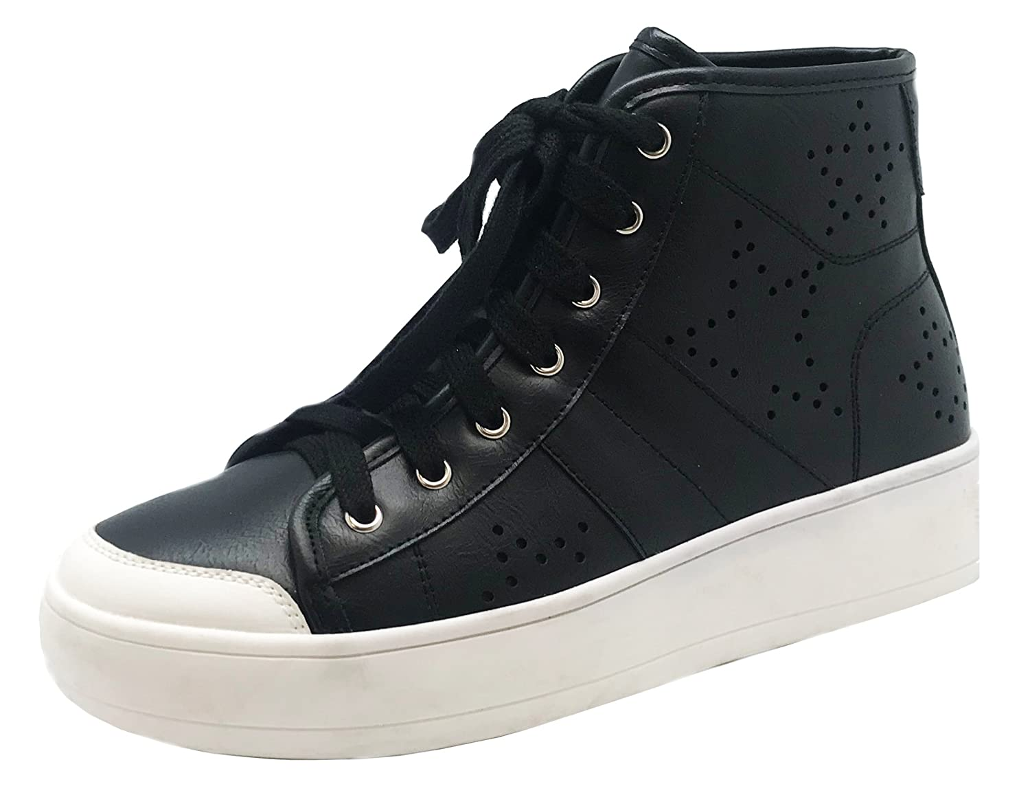 Cambridge Select Women's Closed Round Toe Lace Up Perforated Star Print High Top Casual Sport Fashion Sneaker by Cambridge Select