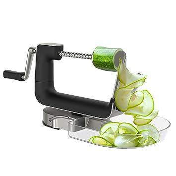 Compra bonVIVO Asistente de Cocina Kitchen Wizard, Espiralizador de Acero Inoxidable para Frutas y Vegetales (5 Cuchillas), Aparato de Cocina Multifuncional ...