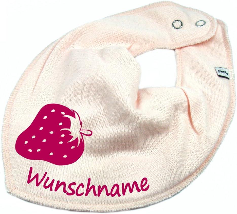 Elefantasie HALSTUCH ERDBEERE mit Namen oder Text personalisiert khaki f/ür Baby oder Kind