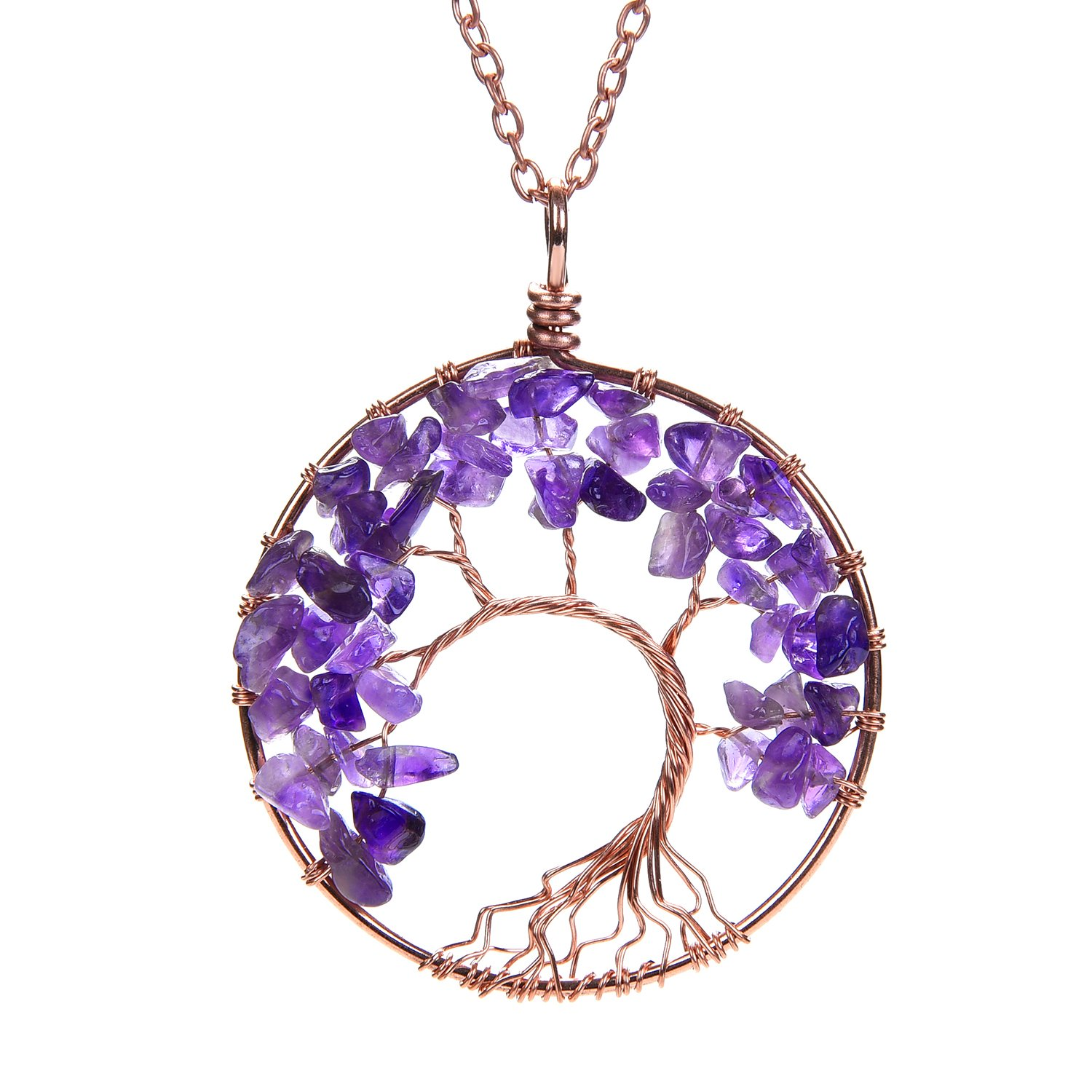 APURSUE Amethyst Crooked Copper Necklace Tree Of Life Pendant Necklace with 2 Chains + 2 Waxed Cotton Cord, Nature Stone Handmade Amethyst Crystal Necklace Gemstone Chakra Jewelry Women Valentine's