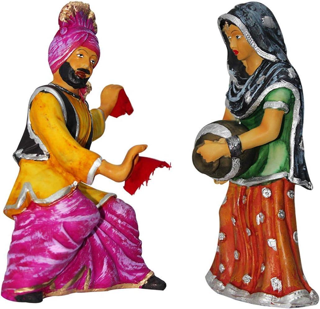 Punjabi Bhangra Traditional Statue Cultural Figurine Indian Handicrafts Home Decor Multicolor Showpiece Gift Item- 26 cm (Multicolor)