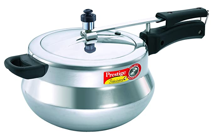 Prestige Nakshatra Plus Induction Base Aluminium Pressure Handi, 5 Litres, Silver Pressure Cookers