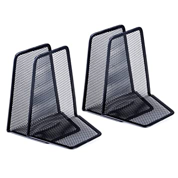 Angled Black Metal Wire Mesh Bookends 5 Pairs