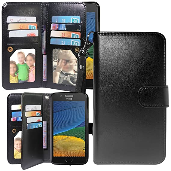 size 40 bf743 2e068 Moto X4 Case, Motorola X4 Wallet Case, Harryshell Luxury 12 Card Slots  Kickstand Shockproof PU Leather Wallet Flip Protective Case Cover with  Wrist ...