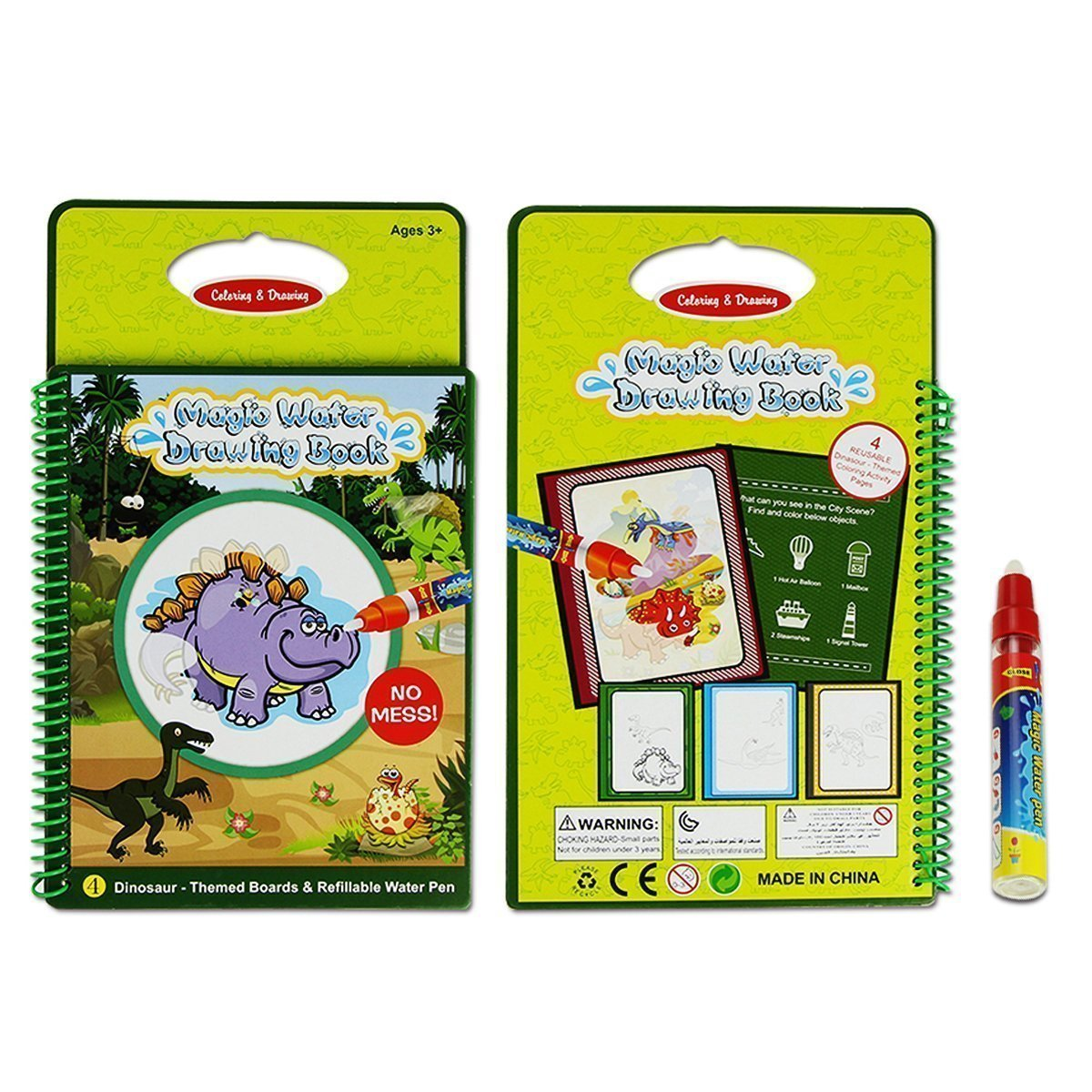 Reusable Water Drawing Doodle Card Book, Water Reveal,Paint with Water, No Chemicals, No Mess, Dinosaurs Water Doodle Pad,Educational Toy for Kids, Magic Pen Included, 4 Pages. by gogomall