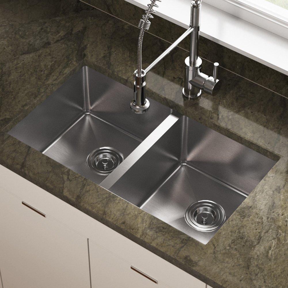 3120D 18 Gauge Undermount Double Bowl 3/4 Inch Radius Kitchen Sink      Amazon.com