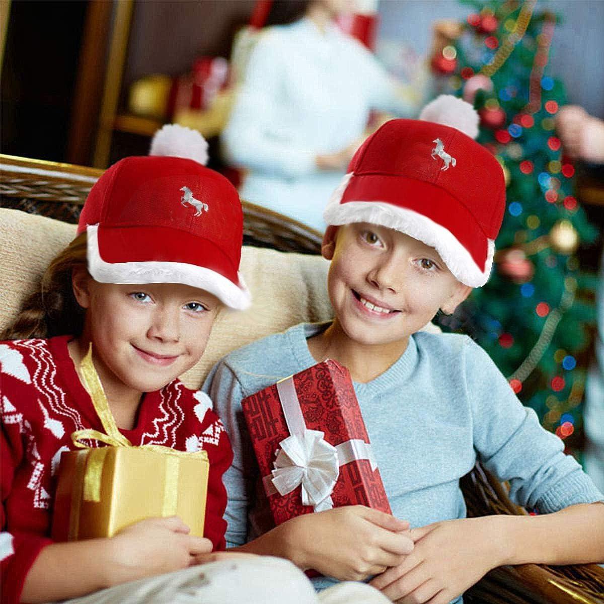 Santa Baseball Cap Silhouette Horse Christmas Caps Red