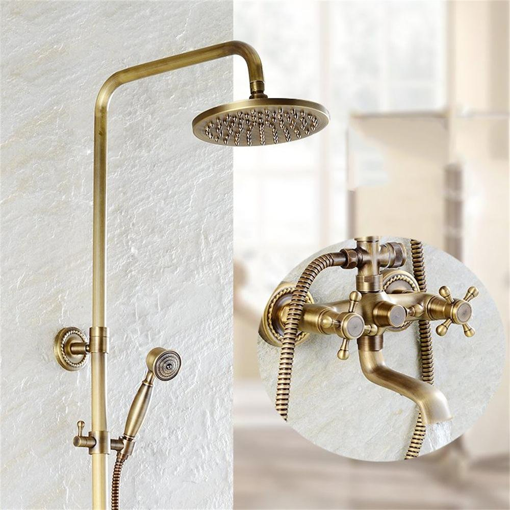 Mariny- ヨーロッパスタイルの銅のアンティークの温かいシャワーセットは純粋な銅のレトロブラシ付きのシャワーの蛇口の下に回転することができます B07MSC5CHM