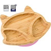 Baby Toddler Fox Cub Suction Plate, Stay Put Feeding Plate, Natural Bamboo (Pink)