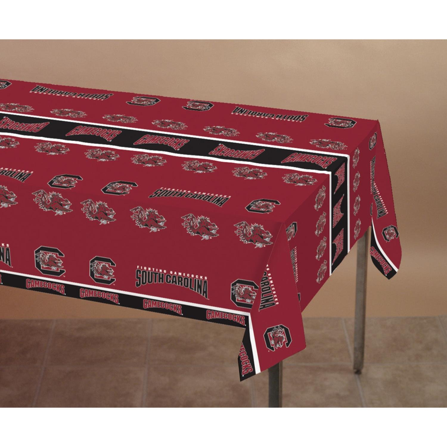 Club Pack of 12 Red and Black University of South Carolina NCAA Plastic Picnic Party Table Covers 108''