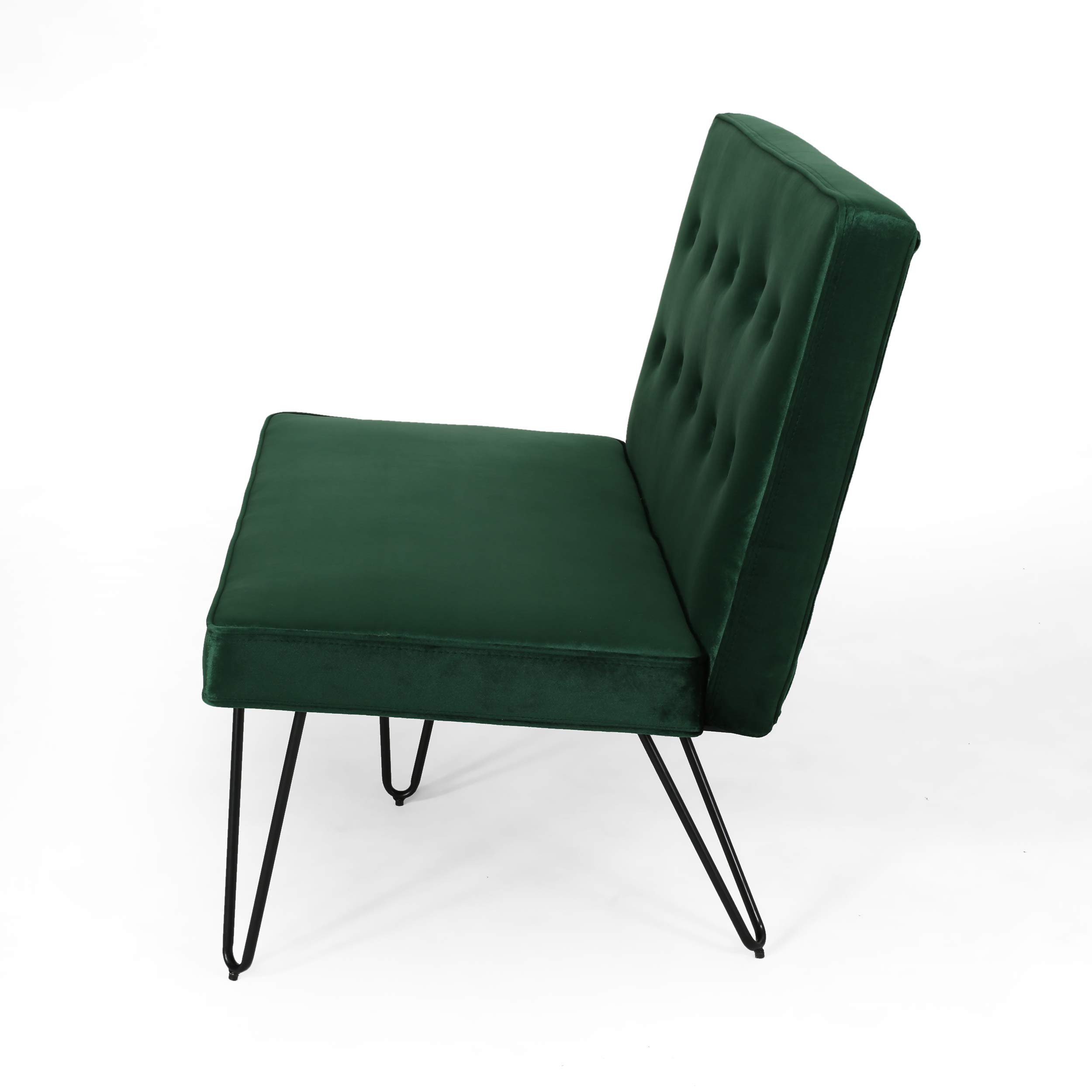 Beatrice Minimalist Dining Bench Settee with Tufted Velvet Cushion and Iron Legs - Emerald and Black by Great Deal Furniture (Image #4)