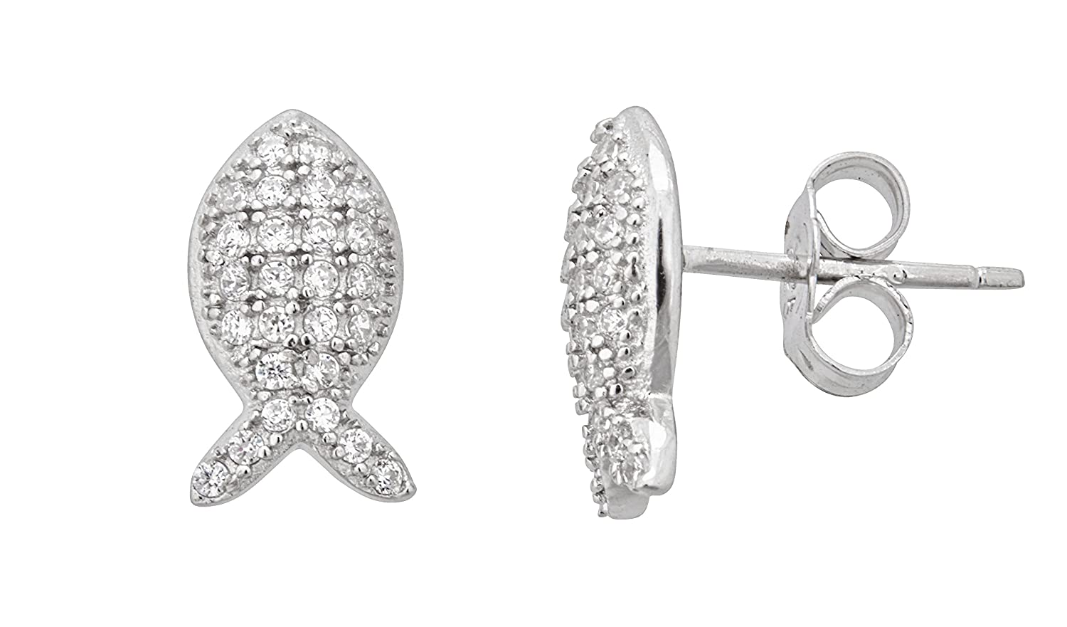 Sterling Silver Rhodium Pave Fish Stud Earring