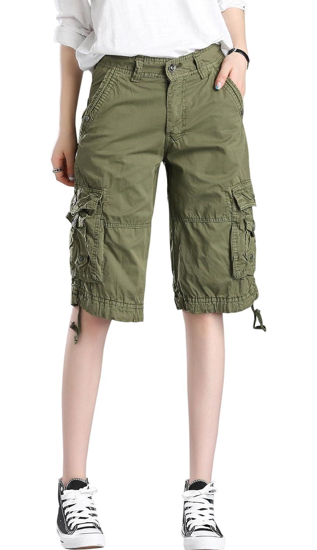 28d79b6886 chouyatou Women's Casual Multi-Pockets Sports-Wear Knee Length Cargo Shorts  | Amazon.com