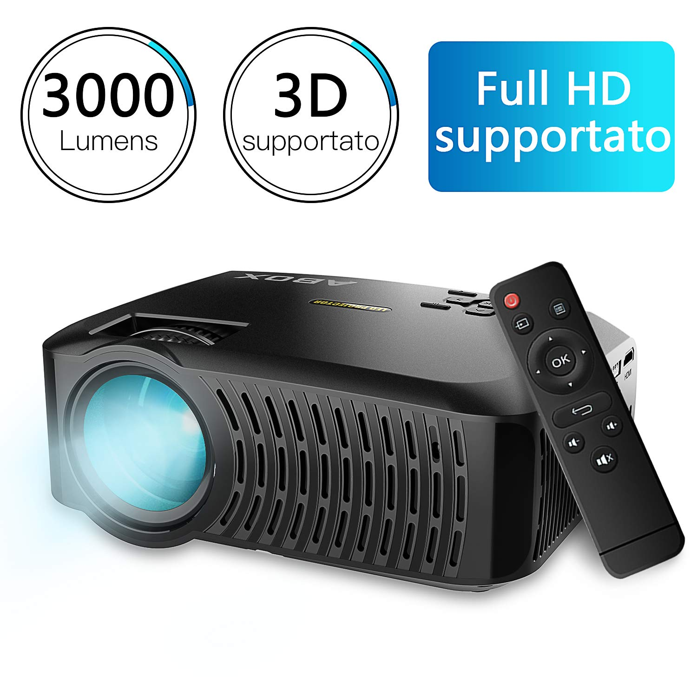 ABox A2 videoproyector de 3000 lú menes, resolució n HD 1280 X 720p, Contraste 3000: 1, 67 Pulgadas -170 'Mini Proyector portá til para el hogar y Viajes, Compatible con Fire TV Stick/PS4/TV Box