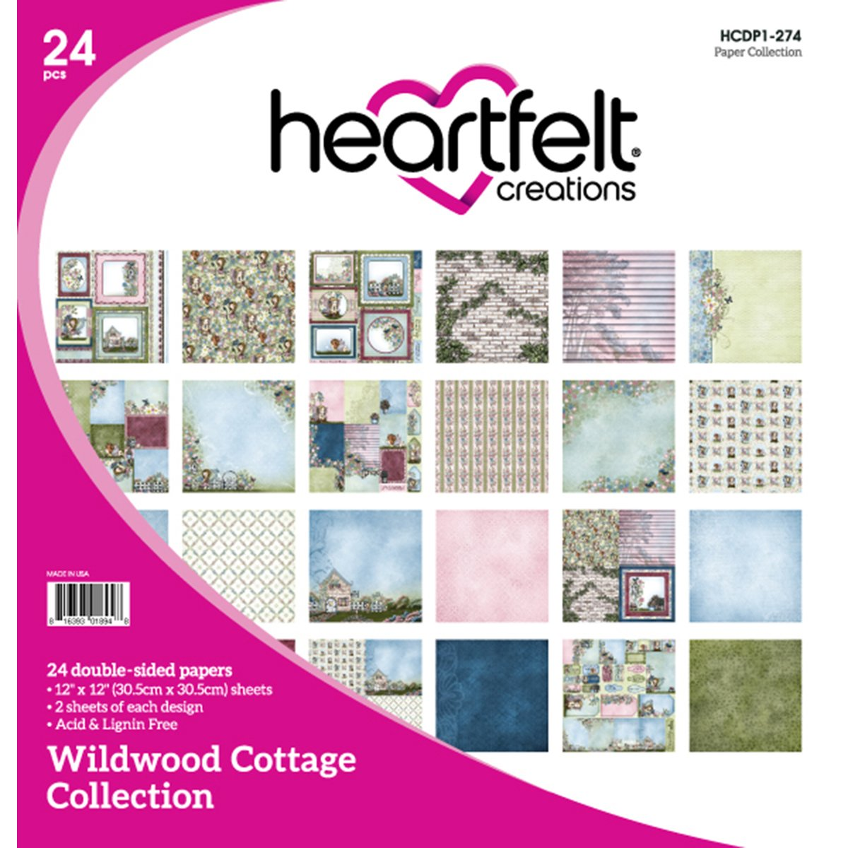 Heartfelt Creations Double-Sided Paper Pad, Multi-Colour, 31.75 x 30.48 x 0.76 cm
