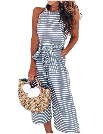 8ac0774d9633 SELUXU Womens Striped Waist Belted Wide Leg Jumpsuit  Amazon.co.uk  Clothing