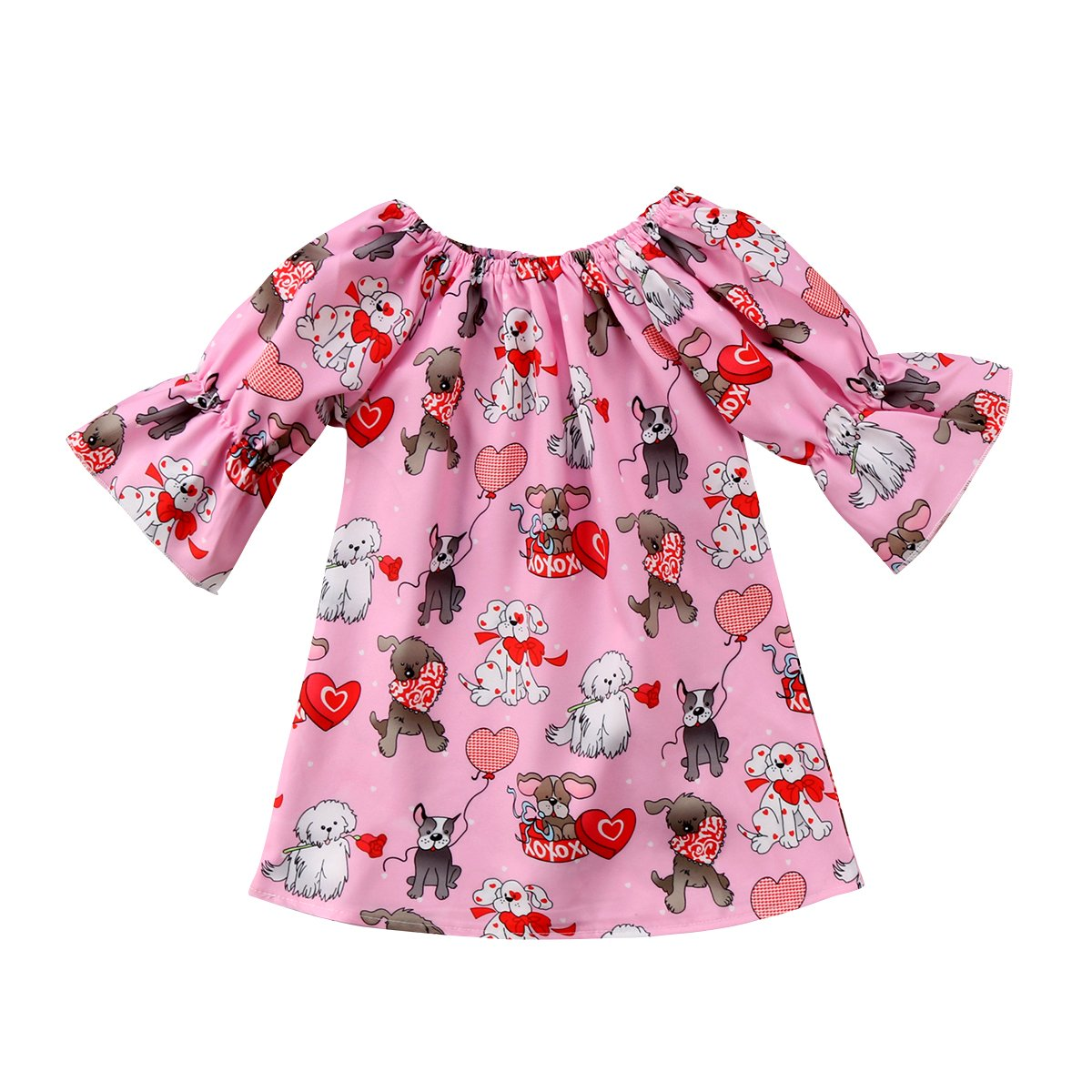2b899240c Round collar half sleeve red short swing dress. Christmas modern style,  reindeer design. Both hand wash and machine wash is OK
